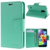 Sonata PU kožené puzdro pre Samsung Galaxy S5 mini - azúrové