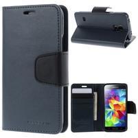 Sonata PU kožené puzdro pre Samsung Galaxy S5 mini - tmavomodré