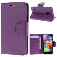 Sonata PU kožené puzdro pre Samsung Galaxy S5 mini - fialové