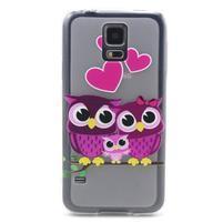 Transparentný gélový obal pre mobil Samsung Galaxy S5 mini - soví rodinka