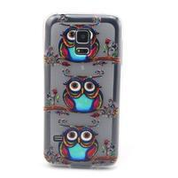 Transparentný gélový obal pre mobil Samsung Galaxy S5 mini - sovy
