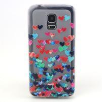 Transparentní gelový obal na mobil Samsung Galaxy S5 mini - srdíčka