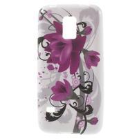 Softy gélový obal pre Samsung Galaxy S5 mini - fialové kvety