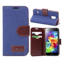 Jeans peňaženkové puzdro pre Samsung Galaxy S5 mini - modré