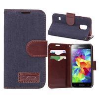 Jeans peněženkové pouzdro na Samsung Galaxy S5 mini - černomodré