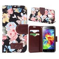 Kvetinové puzdro pre mobil Samsung Galaxy S5 mini - čierne pozadie