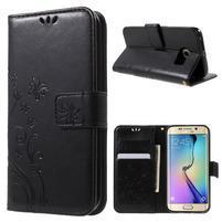 Butterfly PU kožené puzdro pre mobil Samsung Galaxy S6 Edge - čierne