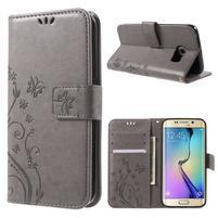 Butterfly PU kožené puzdro pre mobil Samsung Galaxy S6 Edge - šedé