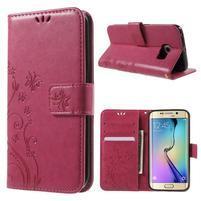 Butterfly PU kožené puzdro pre mobil Samsung Galaxy S6 Edge - rose