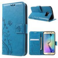 Butterfly PU kožené puzdro pre mobil Samsung Galaxy S6 Edge - modré