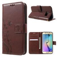 Butterfly PU kožené puzdro pre mobil Samsung Galaxy S6 Edge - hnedé