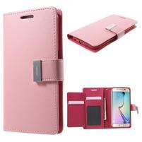 Richdiary PU kožené puzdro pre mobil Samsung Galaxy S6 Edge - ružové