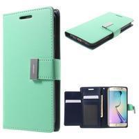 Richdiary PU kožené puzdro pre mobil Samsung Galaxy S6 Edge - azúrové