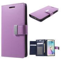 Richdiary PU kožené puzdro pre mobil Samsung Galaxy S6 Edge - fialové