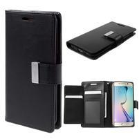 Richdiary PU kožené puzdro pre mobil Samsung Galaxy S6 Edge - čierne