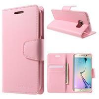 Mercur PU kožené puzdro pre mobil Samsung Galaxy S6 Edge - ružové