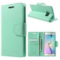 Mercur PU kožené puzdro pre mobil Samsung Galaxy S6 Edge - azúrové