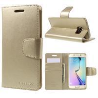 Mercur PU kožené puzdro pre mobil Samsung Galaxy S6 Edge - zlaté