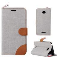Jeans puzdro pre mobil Sony Xperia E4 - sivé