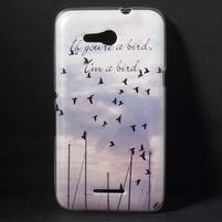 Gélový obal na Sony Xperia E4g - lietajúce vtáčiky