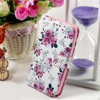 Peňaženkové puzdro pre Sony Xperia E4g - kvetinová koláž
