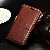 Horse PU kožené puzdro pre mobil Sony Xperia E4g - hnedé