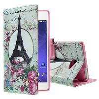 Standy Peňaženkové puzdro Sony Xperia M2 Aqua - Eiffelova veža