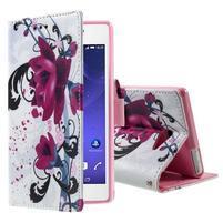 Standy peněženkové pouzdro Sony Xperia M2 Aqua - fialové květy
