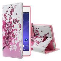 Standy peněženkové pouzdro Sony Xperia M2 Aqua - kvetoucí větvička