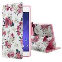 Standy Peňaženkové puzdro Sony Xperia M2 Aqua - kvetiny
