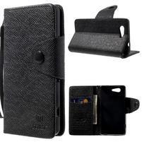 Čierne peňaženkové puzdro pre Sony Xperia Z3 Compact