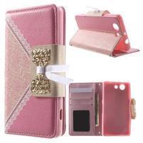 Zapinací pouzdro s mašličkou na Sony Xperia Z3 Compact - růžové