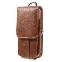 Cestovní PU kožené peňaženkové puzdro do rozmerov 150 x 73 x 15 mm - hnedé