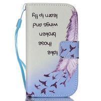 Knížkové PU kožené puzdro pre Samsung Galaxy S3 mini - vtáčiky