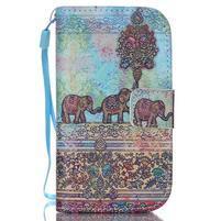 Knížkové PU kožené puzdro pre Samsung Galaxy S3 mini - slony