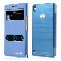 Kožené puzdro s okýnky na Huawei P6 - modré