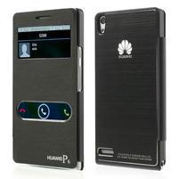 Kožené puzdro s okýnky na Huawei P6 - čierné