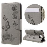 Butterfly PU kožené puzdro na mobil Huawei Y5 II - šedé