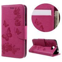 Butterfly PU kožené puzdro na mobil Huawei Y5 II - rose