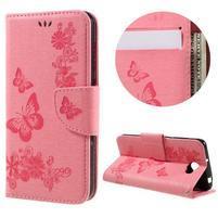 Butterfly PU kožené puzdro na mobil Huawei Y5 II - růžové
