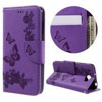 Butterfly PU kožené puzdro na mobil Huawei Y5 II - fialové