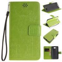 Dandelion PU kožené puzdro na Huawei Y5 II - zelené