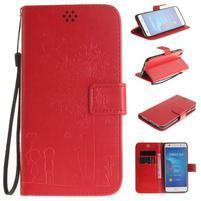 Dandelion PU kožené puzdro na Huawei Y6 II a Honor 5A - červené