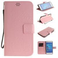 Dandelion PU kožené puzdro na Huawei Y6 II a Honor 5A - růžové