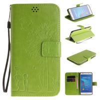 Dandelion PU kožené puzdro na Huawei Y6 II a Honor 5A - zelené