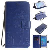 Dandelion PU kožené puzdro na Huawei Y6 II a Honor 5A - modré