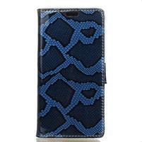 Peňaženkové puzdro s hadím motívom na Huawei Y6 II Compact - modré
