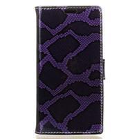 Peňaženkové puzdro s hadím motívom na Huawei Y6 II Compact - fialové