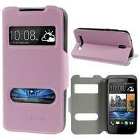 Flipové kožené puzdro na HTC Desire 500 - růžové