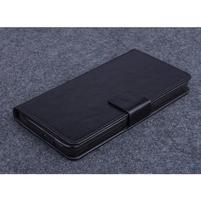 Čierné kožené peňaženkové puzdro na Huawei Ascend G620s